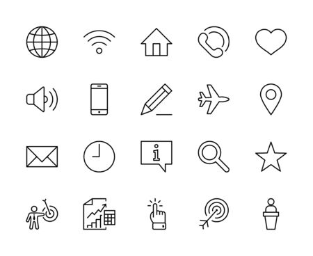 Web ベクター ライン アイコンのセット。グローブ、Wi-Fi、ホーム、ハート、電話、鉛筆、タイムクロック、スターなど、アイコンが含まれています。編集可能なストローク。32x32 ピクセル