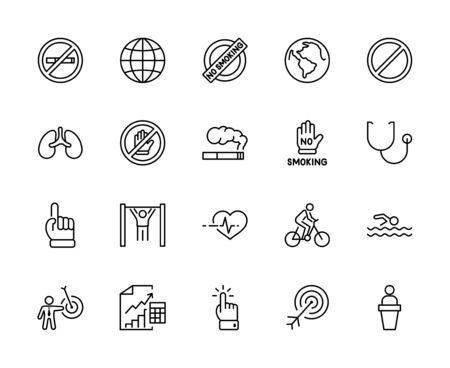 International No Tobacco Day Set Line Vector Icons. Contains such Icons as Lungs, Cigars, Cigarettes, Smoking, Globe, smoking Cessation and more. Editable Stroke 32x32 Pixels 矢量图像