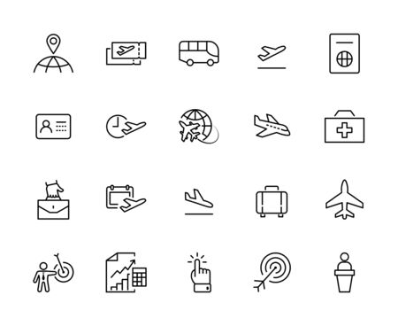 Set of Airport Related Vector Line Icons. Contains such Icons as Globe, Departure, Plane, Bus, Tickets, Baggage Claim, Calendar, Kit and more. Editable Stroke. 32x32 Pixels.