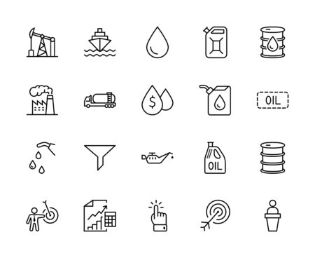 Set of Oil Related Vector Line Icons. Contains such Icons as Fuel Truck, Gas Station, Oil Factory, Transportation and more. Editable Stroke. 32x32 Pixels