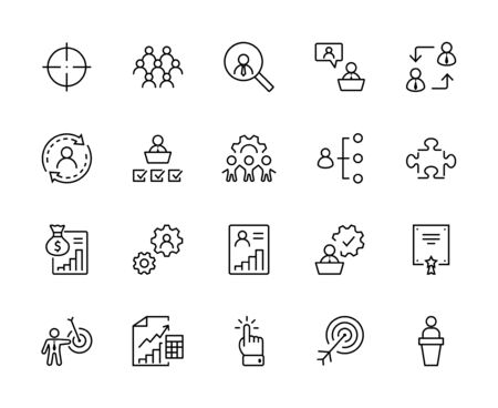 Ensemble d'icônes de ligne vectorielle liées à la gestion des personnes. Contient des icônes telles que cible, puzzle, certificat, traitement des données personnelles, gestionnaire de tâches, qualification, chasse de tête et plus encore. Course modifiable