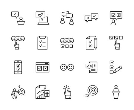 Set of Survey Related Vector Line Icons. Contains such Icons as Smile, Sad, Review, Click, Check, Customer Opinion, Web Survey and more. Editable Stroke. 32x32 Pixels