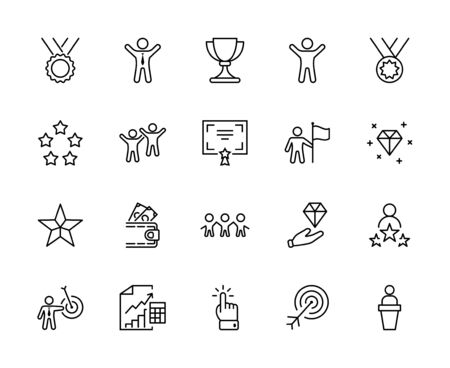 Set of Success Related Vector Line Icon. Contains such Icons as Cup, Ribbon, Star, Winner, Reward and more.Editable Stroke. 32x32 Pixels