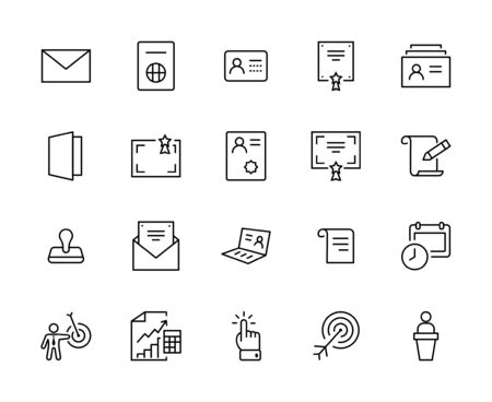 Set of Legal Documents Related Vector Line Icons. Contains such Icon as Visa, Contract, Declaration, License, Permission, Grant and more. Editable Stroke. 32x32 Pixels 矢量图像