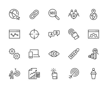 Set of SEO Related Vector Line Icons. Contains such Symbols as Web icon, Eye, Localization, Link, Traffic, Translate, Performance Tracking, Point and more. Editable Stroke. 32x32 Pixels