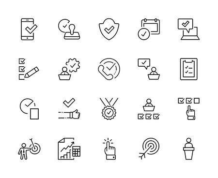 Set Approve Vector Line Icons. Contains such Icons as Quality Check, Protection Guarantee, Accepted Document and more. Editable Stroke. 32x32 Pixels 矢量图像