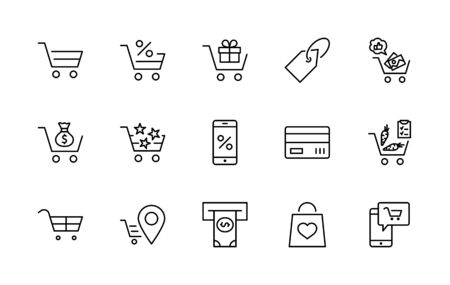 Shopping Cart Vector Line Icons Set: Money, ATM, List Products, Vegetables, Bank Card Terminal, Bag, Favorite Shopping, Gifts, Express Checkout, Mobile Shop and more. Editable Stroke. 32x32 Pixels. 矢量图像