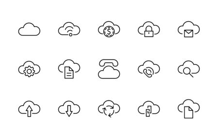 Set of Cloud Vector Line Icon. It contains Symbols to Upload, Download, Link and more. Editable Stroke. 矢量图像