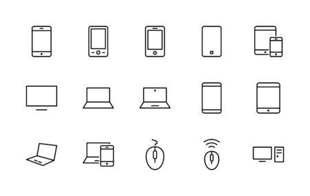 Set di dispositivi intelligenti e gadget, apparecchiature informatiche ed elettronica. Icone dei dispositivi elettronici per il web e l'icona della linea vettoriale mobile. Tratto modificabile. 32x32 pixel. Vettoriali