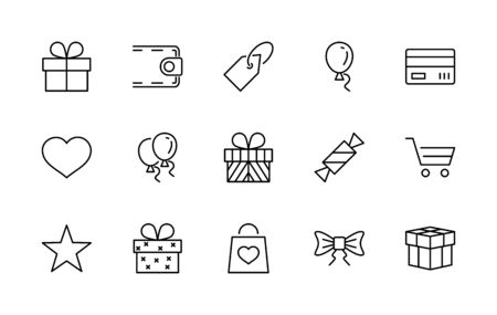 Set of Gifts Vector Line Icons. Contains Symbols Gift Cards, Ribbons and more. 矢量图像
