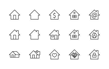 Set of House Vector Home Line Icons. Contains symbols of Conclusion of Contract, Heart, Drop of water, fire, money and more. Editable Stroke.