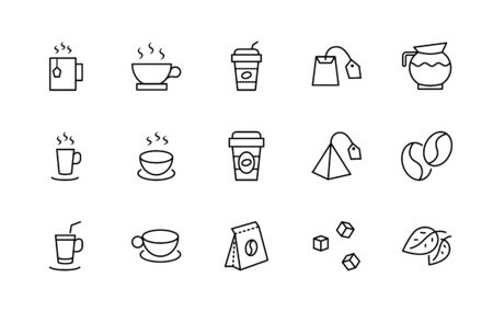 Set of Coffee and Tea Vector Line Icons. Contains such Icons as Cup of Tea, Teabags, Coffee beans and Green Tea Leaves, a pitcher of Water, Sugar Cubes and more. Editable Stroke. 32x32 Pixels.