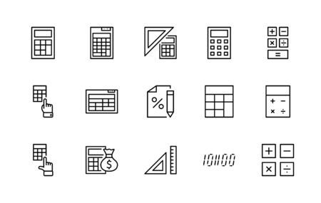 Set of Calculation Vector Line Icons. Contains such Icons as Calculator Icon, Pencil, Click, Money Bag, Percent symbol, Square and Ruler. Editable Stroke. 32x32 Pixels.