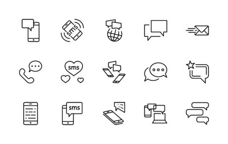 Set of Message Vector Line Icons. Contains such Icons as Conversation, SMS, Heart, Love Chats, Notification, Group Chat and more. Editable Stroke. 32x32 Pixels. 矢量图像