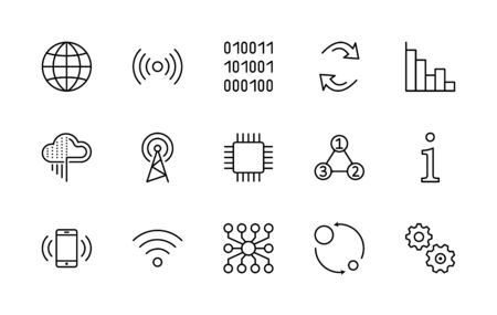 Set of Data Analysis Related Technology Vector Line Icons. Contains such Icons as Charts, Wi-fi, Graphs, Traffic Analysis, Big Data and more.