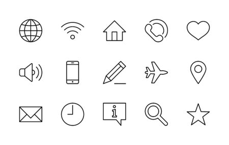 Set of Web Vector Line Icons. Contains such Icons as Globe, Wi-fi, Home, Heart, Phone, Pencil, Time Clock, Star and more.