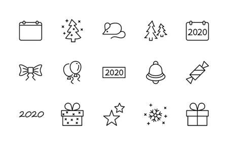 Happy New Year Mouse. Set vector line icon. Contains such Icons as Mouse, Christmas Tree, Calendar 2020, Bow, Balloons, Bell, Candy Gift Box, Stars, Snowflake.