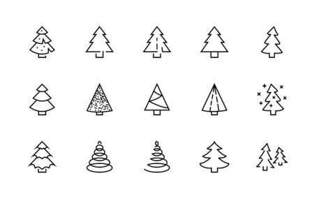 Christmas Tree thin line icon set. Stylized linear icons of artificial snow, spruce, present box fir.