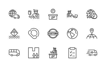 International Customs Day Set Line Vector Icons. Editable Stroke.