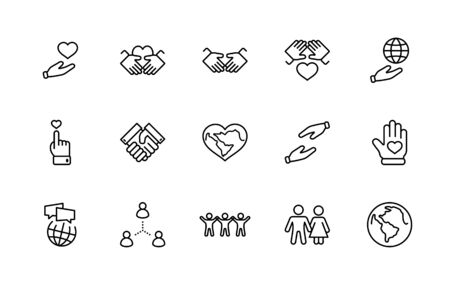 International Day of Human Solidarity Line Vector Icons Set. Contains such Icons as Handshake, Heart, planet Earth, helping Hand, People and more. Editable Stroke. 矢量图像