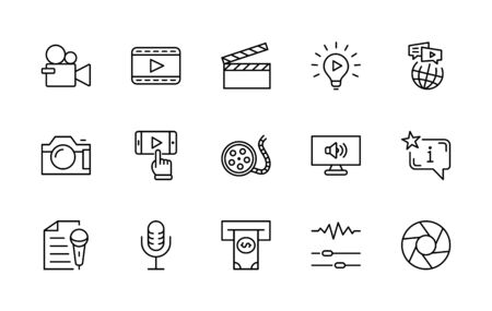International Film Day Set Line Vector Icons. Contains such Icons as Clapperboard, Camera, Video, Play, Film, Lens, Microphone, Media settings and more. Editable Stroke. 32x32 Pixels. 矢量图像