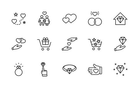International Jeweler Day Set Line Vector Icons. Contains such Icons as Love, Heart, Hand, Family, Wedding Rings, Diamond, Jewelry store, Gift, Basket and more. Editable Stroke.