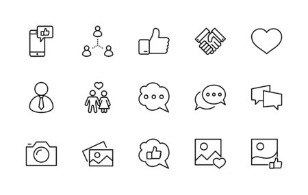 Set of Social Networks Related Vector Line Icons. Contains such Icons as Profile Page, Rating, Social Links and more. Editable Stroke. 32x32 Pixels 矢量图像