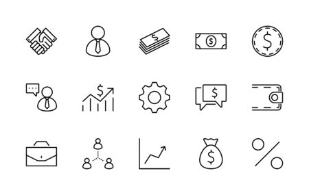 Set of Business vector line icons. It contains symbols of a handshake, a user, dollar pictograms, gears, a briefcase, a bag of money, a schedule and much more. Editable Stroke.