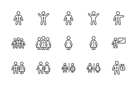 Set of People vector line icons. It contains the symbols of a man, a woman, a family, a toilet, a businessman, a teacher, and much more. Editable Stroke. 32x32 pixels. 矢量图像