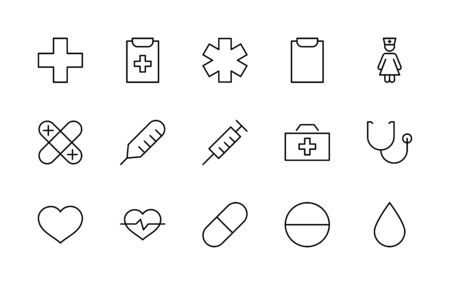 Set of Medicine vector line icons. It contains the first aid kit, nurse, syringe, thermometer, plastic, pills, heart, drop of blood, palpitation and much more. Editable Stroke.