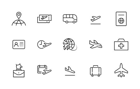 Set of Airport Related Vector Line Icons. Contains such Icons as Globe, Departure, Plane, Bus, Tickets, Baggage Claim, Calendar, Kit and more. Editable Stroke