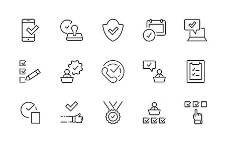 Set Approve Vector Line Icons. Contains such Icons as Quality Check, Protection Guarantee, Accepted Document and more. Editable Stroke.