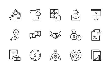 Set of Business Cooperation Vector Line Icons. Contains such Icons as Puzzle, Partnership, Money, Handshake, Dollars, Team, Synergy, Work, Interaction and more. Editable Stroke. 32x32 Pixels 矢量图像