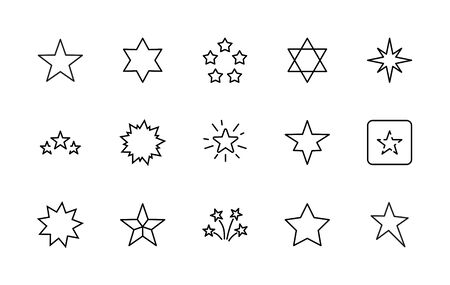 Set of Stars Vector Line Icons. Contains such Icons as Starry night, falling star, firework, twinkle, glow, glitter burst and more. Outline signs for glossy material. Editable Stroke.