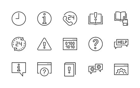 Set of Help And Support Vector Line Icons. Contains such Icons as Handbook, Book, Online Help, Tech Support and more.