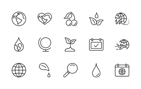 Earth Day Vector Line Icons Set. Editable Stroke.