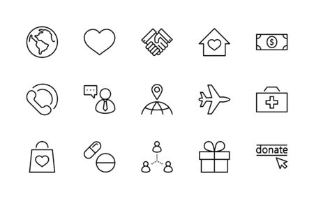 International Day for the Poor Vector Line Icons Set. Contains such Icons as Heart, planet Earth, Handshake, money, Donate, Medicines, Plane and more. Editable Stroke. 32x32 Pixels.