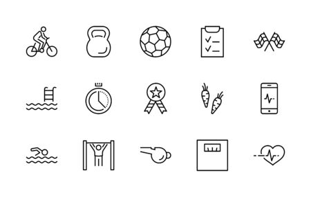 Set of Fitness Vector Line Icons. Contains such Icons as Cycling, Kettlebell Sport, Soccer Ball, Heartbeat, Workout, Stopwatch, Timer, Diet Plan, Sport Nutrition and more. Editable Stroke.