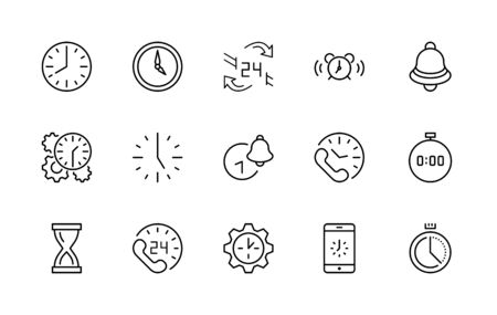Set of Time Vector Line Icons. Contains such Icons as Timer, Speed, Alarm, Restore, Time Management and more. Editable Stroke. Illustration