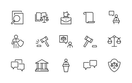 Set of Law and justice Vector Line Icons. Contains such Icons as weapon, arrest, authority, courthouse, gavel, legal, weapon and more. Editable stroke. 32x32 Pixels. 矢量图像