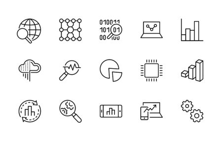 Set of Data Analysis Related Technology Vector Line Icons. Contains such Icons as Charts, Search, Graphs, Traffic Analysis, Big Data and more. Editable Stroke.