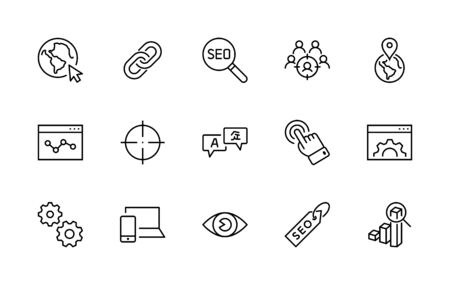 Set of SEO Related Vector Line Icons. Contains such Symbols as Web icon, Eye, Localization, Link, Traffic, Translate, Performance Tracking, Point and more. Editable Stroke. Illustration
