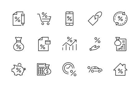 Set of Credit and Loan Related Vector Line Icons. Contains such Icons as Credit Card, Rate Calculator, Deposit and more. Editable Stroke.