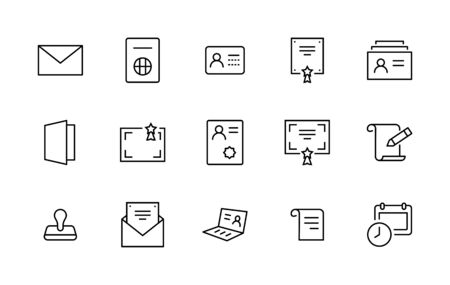 Set of Legal Documents Related Vector Line Icons. Contains such Icon as Visa, Contract, Declaration, License, Permission, Grant and more. Editable Stroke. Illustration