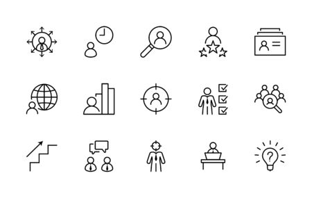Set of Head Hunting Related Vector Line Icons. Contains such Icons as Career growth, Bulb, Candidate, Search, CV, Card Index, Outsource and more. Editable Stroke. Illustration