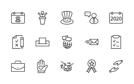 International Presidents Day Set Line Vector Icons. Contains such Icons as Hat, President, Voting, USA, Flag, Elections, Government, Ballot, Box, Check, Politics and more Editable Stroke 32x32 Pixels.