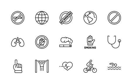International No Tobacco Day Set Line Vector Icons. Contains such Icons as Lungs, Cigars, Cigarettes, Smoking, Globe, smoking Cessation and more. Editable Stroke 32x32 Pixels.