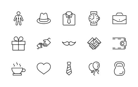 Father's Day Set Line Vector Icons. Contains such Icons as Mustache, tie, shirt, handshake, diplomat, hat, coffee, purse, gift, portfolio and more. Editable Stroke. 32x32 Pixels. 矢量图像