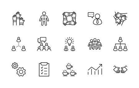 Set of Team Work Related Vector Line Icons. Contains such Icons as Handshake, Check, Idea, Coffee, Gears, Cooperation, Collaboration, Team Meeting and more. Editable Stroke. 32x32 Pixels 矢量图像