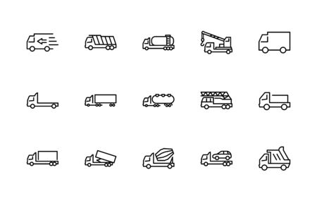 Truck Set of Transport Vector Line Icons. Contains such Icons as Truck, Transportation, Tow Truck, Cranes, Mixer, Garbage Truck, Manipulators, Delivery service and more. Editable Stroke.